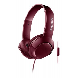 Philips Bass+ SHL3075RD Headset with cable and microphone Red